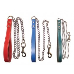 Coloured Leather Handle + Chain Lead